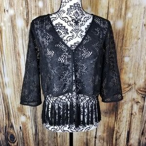 Rabbit Rabbit Rabbit Jackets & Coats - Size Large Black Lace Crochet Boho Tassel Shrug